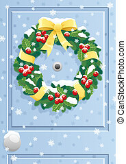 Door Wreath - Christmas wreath on door. No transparency...