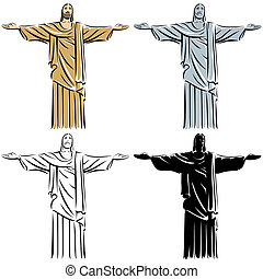 Christ the Redeemer - Stylized illustration of Jesus Christ...