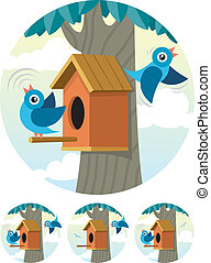 Birdhouse - Cartoon birdhouse and 2 bluebirds, depicted in 4...