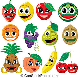 Cartoon Fruits - Set of funny cartoon fruits. No...