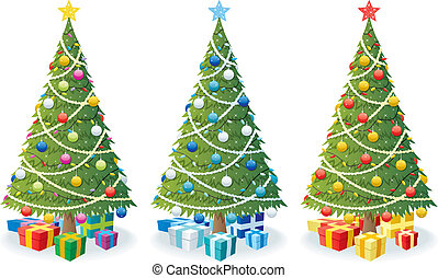 Christmas Tree and Gifts - Cartoon illustration of Christmas...