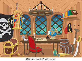 Captainu2019s Cabin - Cabin of a pirate captain No...