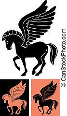 Decorative Pegasus - Stylized illustration of the winged...