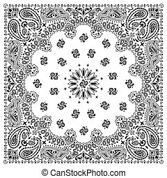 Bandana White - White bandana with black ornaments No...