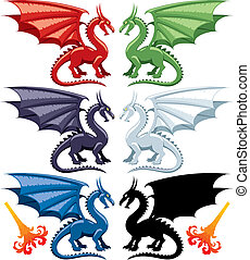 Dragons - Set of the five most popular kinds of dragons:...