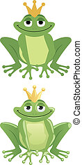 Frog Prince in two versions: One with gradients and one...