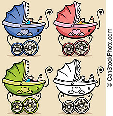 Baby Stroller - Retro baby stroller in 4 versions No...