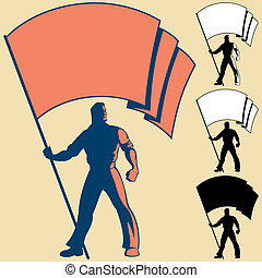 Flag Bearer - Man, holding flag. You can place the colors of...