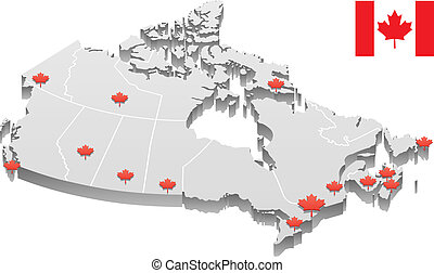 Canada Map - 3D map of Canada, showing the capitals of the...