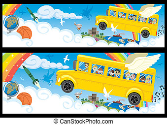 Back to School - Cartoon banner in two versions, differing...