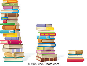 Book Stacks - 3 stack of books, different by height. No...