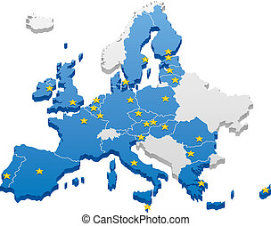 European Union Map - Map of the European Union. Capitals and...