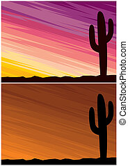 Desert Cactus - Cartoon landscape of desert at dusk 2 color...
