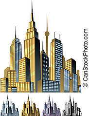 City - Comic book city in 5 color versions No transparency...