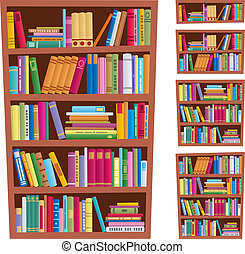 Bookshelf - Cartoon illustration of bookshelf in 5 different...
