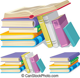 Book Pile - Illustration of a cartoon book pile in 3...
