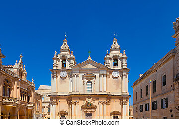 Mdina, Malta - St. Paul's Cathedral in Mdina, former capital...