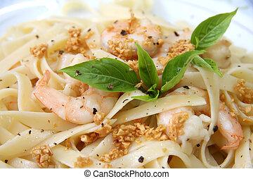 Pasta ala oglio with shrimp Italian cuisine