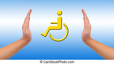 Conceptual image, help and care for handicapped person Two...