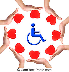 Conceptual image, Love handicapped person Hands with hearts...
