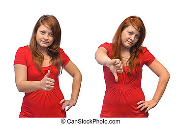 Young woman and thumb gesture