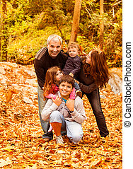 Happy family outdoors - Photo of five happy person have fun...