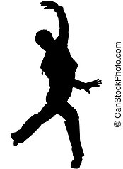 a black silhouette of dancing youth