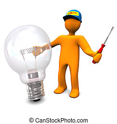 Electrician With Bulb - Orange cartoon character as...