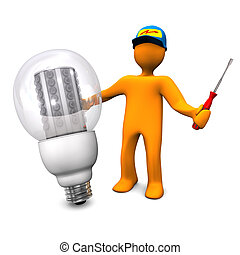 Electrician With LED Bulb - Orange cartoon character as...