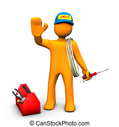 Electrician Waves - Orange cartoon character as electrician...
