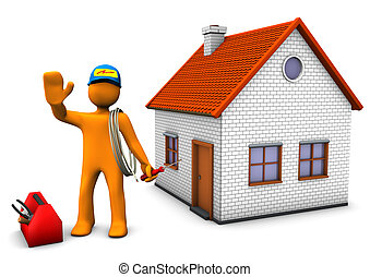 Electrician With House - Orange cartoon character as...