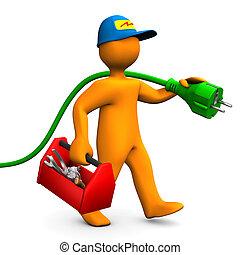 electricista, con, caja de herramientas, y, Conector