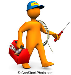 Electrician With Toolbox And Cord - Orange cartoon character...