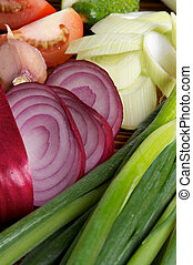 Onion and Vegetables - Red Onion and Various Vegetables with...
