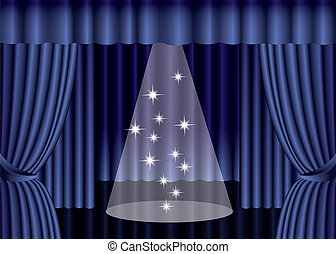 Blue theater curtain with spotlight on stage, EPS10