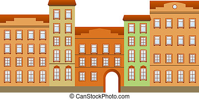 Townhouses - Street with houses in different architectural...