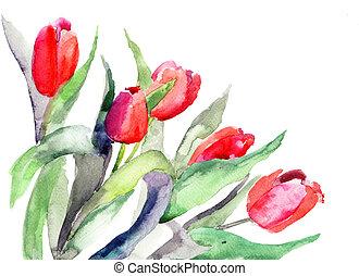 stilizált, tulipánok,...