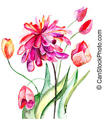 Colorful summer background with flowers. Watercolor...