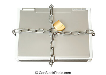 Laptop in Chains - Security: Laptop with chains and padlock...