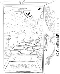 Halloween night background sketch - Halloween night...
