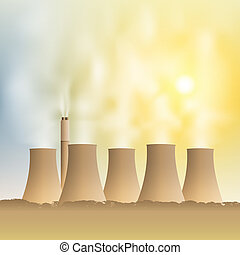 Power Station - A Power Station with Cooling Towers and...