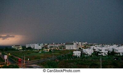tropical thunderstorm skyline of City Antalya Turkey