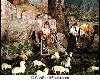 CHRISTMAS CRIB shepherds and farmers - A big Christmas crib...