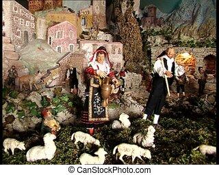 CHRISTMAS CRIB shepherds & farmers