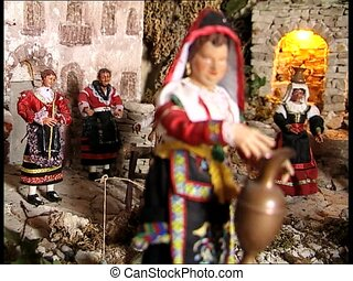CHRISTMAS CRIB countrywomen santons - A Christmas crib...