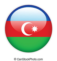 Azerbaijan flag button on white