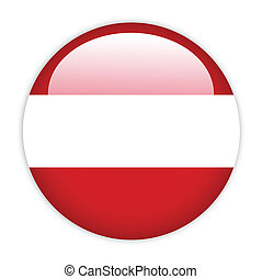 Austria flag button on white