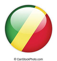 Congo flag button on white