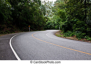 curve of road, location of travel in Thailand