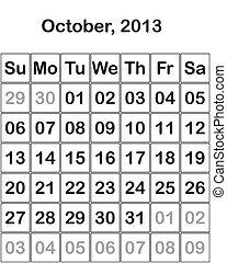 month October 2013 Calendar